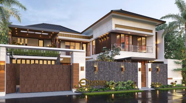 Desain Tampak Depan Dengan Pagar Rumah Modern 2 Lantai Bapak Kris di Yogyakarta