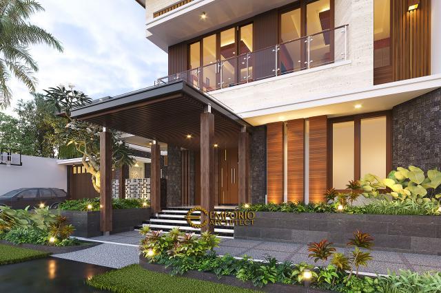 Desain Tampak Detail Depan 1 Rumah Modern 2 Lantai Bapak Kris di Yogyakarta