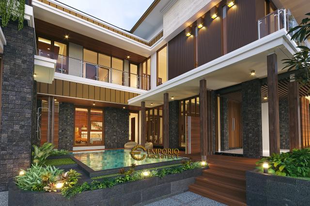 Desain Tampak Detail Depan 2 Rumah Modern 2 Lantai Bapak Kris di Yogyakarta