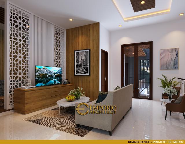 Desain Ruang Santai Rumah Modern 2 Lantai Ibu Merry di Jakarta Selatan