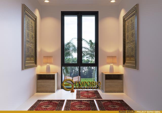 Desain Ruang Sholat Rumah Modern 2 Lantai Bapak Iqbal di Jakarta Timur