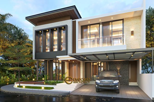 Desain Rumah Modern 2 Lantai Bapak Firnaz di Jakarta - Tampak Depan