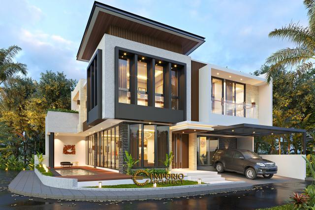 Desain Tampak Hook Rumah Modern 2 Lantai Bapak Firnaz di Jakarta