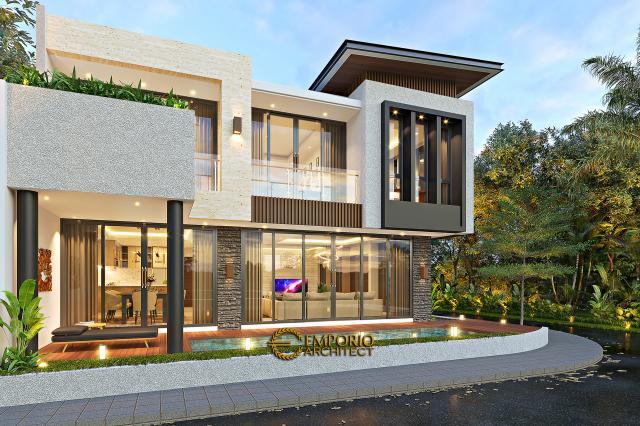 Desain Tampak Samping Rumah Modern 2 Lantai Bapak Firnaz di Jakarta