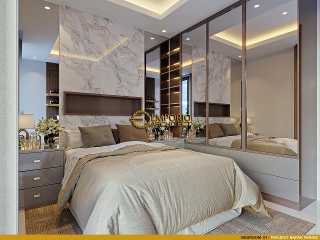 Desain Kamar Tidur 1 Rumah Modern 2 Lantai Bapak Firnaz di Jakarta