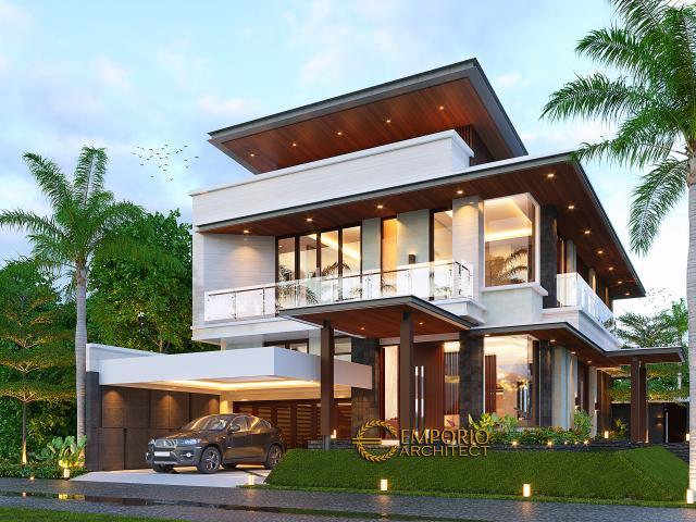 Desain Rumah Modern 2 Lantai Bapak Pandita di Karawang, Jawa Barat - Tampak Depan