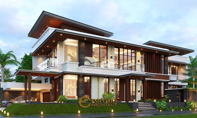 Desain Tampak Samping Rumah Modern 2 Lantai Bapak Pandita di Karawang, Jawa Barat