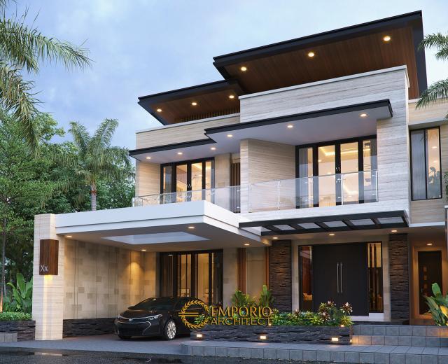 Desain Rumah Modern 2 Lantai Ibu Khadijah di Makassar, Sulawesi Selatan - Tampak Depan