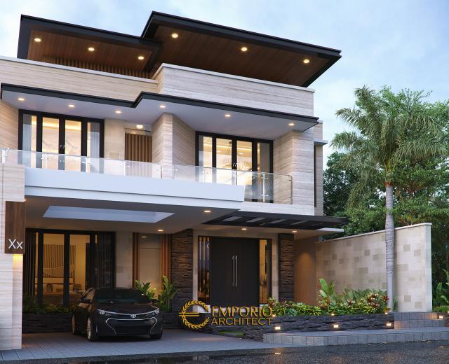 Desain Tampak Depan 2 Rumah Modern 2 Lantai Ibu Khadijah di Makassar, Sulawesi Selatan