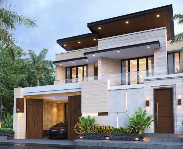 Desain Tampak Depan Dengan Pagar Rumah Modern 2 Lantai Ibu Khadijah di Makassar, Sulawesi Selatan