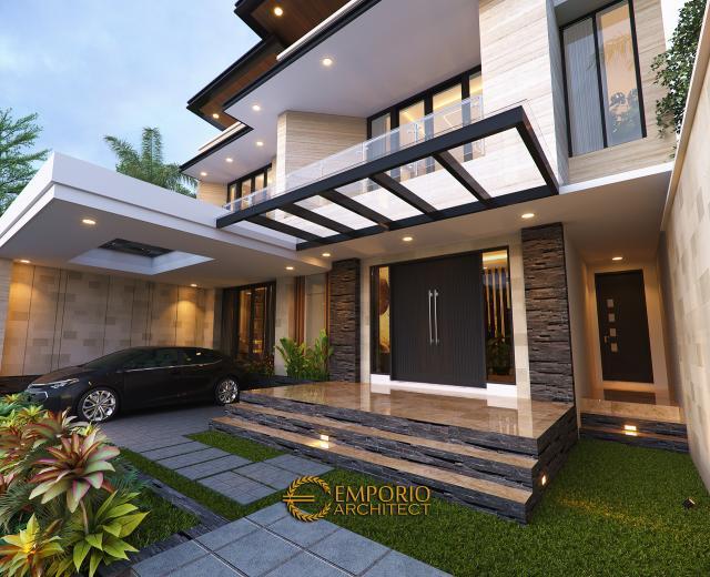 Desain Tampak Detail Depan Rumah Modern 2 Lantai Ibu Khadijah di Makassar, Sulawesi Selatan