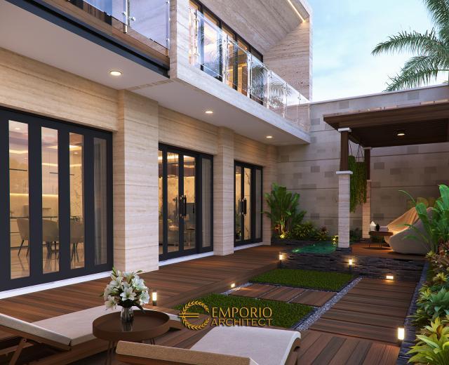 Desain Tampak Detail Belakang 1 Rumah Modern 2 Lantai Ibu Khadijah di Makassar, Sulawesi Selatan