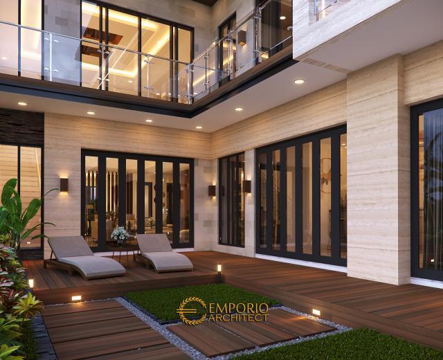 Desain Tampak Detail Belakang 2 Rumah Modern 2 Lantai Ibu Khadijah di Makassar, Sulawesi Selatan