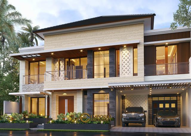 Desain Rumah Modern 2 Lantai Ibu Nana di Karawang, Jawa Barat - Tampak Depan