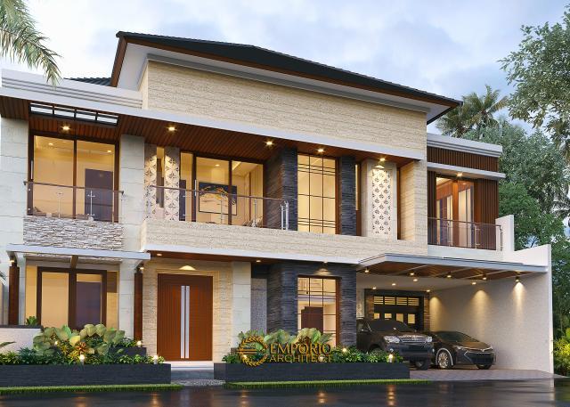 Desain Tampak Depan 2 Rumah Modern 2 Lantai Ibu Nana di Karawang, Jawa Barat
