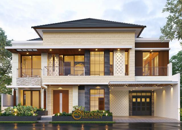 Desain Tampak Depan 3 Rumah Modern 2 Lantai Ibu Nana di Karawang, Jawa Barat