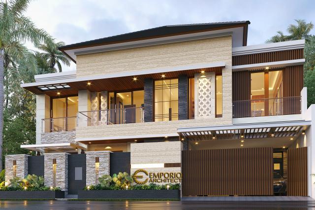 Desain Tampak Depan Dengan Pagar Rumah Modern 2 Lantai Ibu Nana di Karawang, Jawa Barat