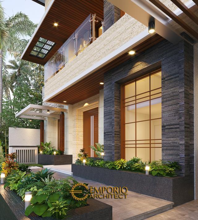 Desain Tampak Detail Depan Rumah Modern 2 Lantai Ibu Nana di Karawang, Jawa Barat