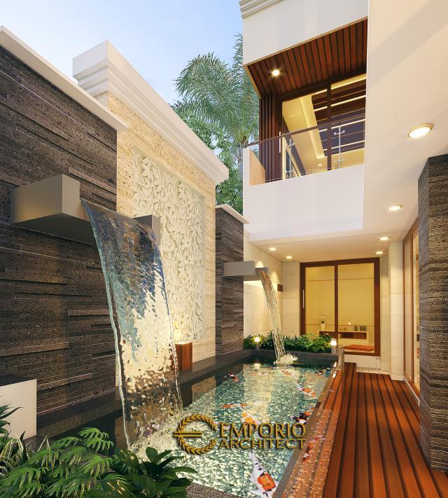 Desain Tampak Detail Belakang Rumah Modern 2 Lantai Ibu Nana di Karawang, Jawa Barat