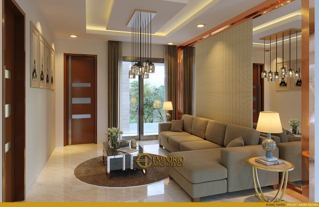 Desain Ruang Santai Rumah Modern 2 Lantai Bapak Eruwin di Tanjung Pinang, Kepulauan Riau