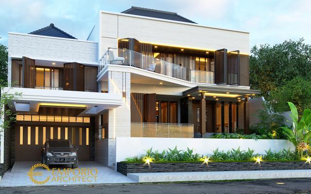 Desain Rumah Modern 2 Lantai Ibu Diana di Bandar Lampung - Tampak Depan