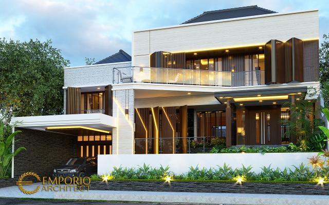 Desain Tampak Depan 2 Rumah Modern 2 Lantai Ibu Diana di Bandar Lampung