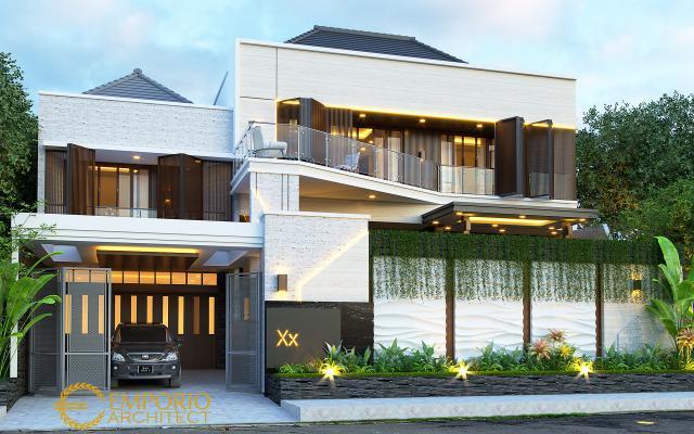 Desain Tampak Depan Dengan Pagar Rumah Modern 2 Lantai Ibu Diana di Bandar Lampung