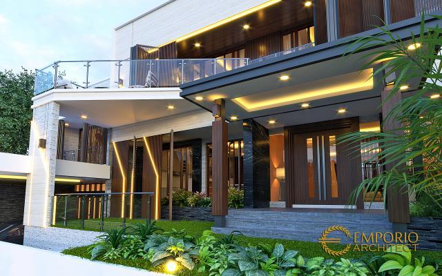 Desain Tampak Detail Depan Rumah Modern 2 Lantai Ibu Diana di Bandar Lampung