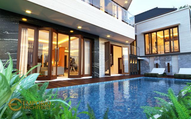 Desain Tampak Detail Belakang Rumah Modern 2 Lantai Ibu Diana di Bandar Lampung