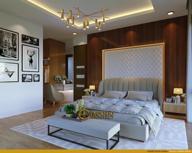 Desain Kamar Tidur Utama Rumah Modern 2 Lantai Bapak Arifin di BSD, Tangerang Selatan