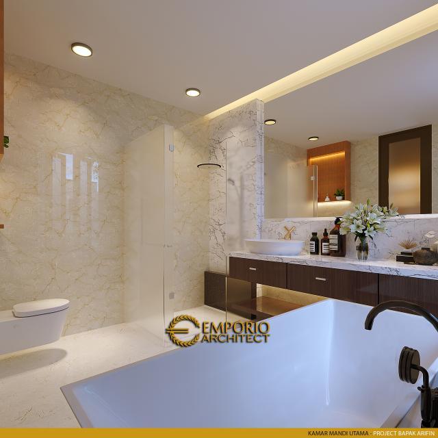 Desain Kamar Mandi Utama Rumah Modern 2 Lantai Bapak Arifin di BSD, Tangerang Selatan