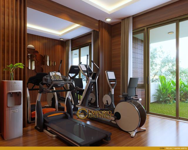 Desain Ruang Gym Rumah Modern 2 Lantai Bapak Arifin di BSD, Tangerang Selatan
