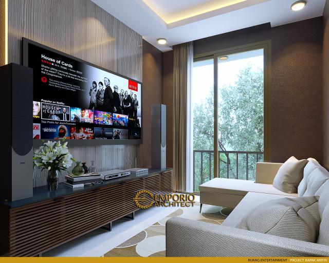 Desain Ruang Entertainment Rumah Modern 2 Lantai Bapak Arifin di BSD, Tangerang Selatan