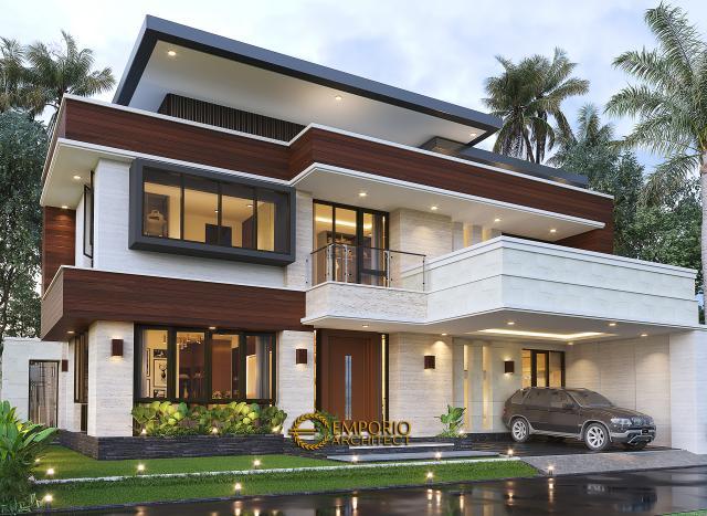 Desain Rumah Modern 2 Lantai Bapak Arifin di BSD, Tangerang Selatan - Tampak Depan