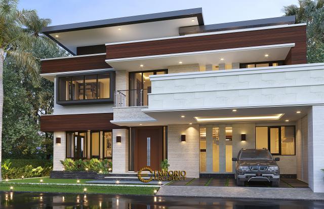 Desain Tampak Depan 2 Rumah Modern 2 Lantai Bapak Arifin di BSD, Tangerang Selatan