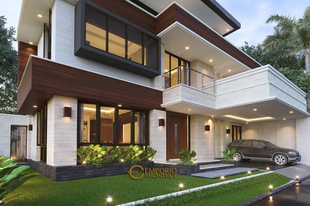 Desain Tampak Detail Depan Rumah Modern 2 Lantai Bapak Arifin di BSD, Tangerang Selatan