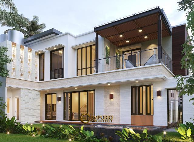 Desain Tampak Belakang Rumah Modern 2 Lantai Bapak Arifin di BSD, Tangerang Selatan