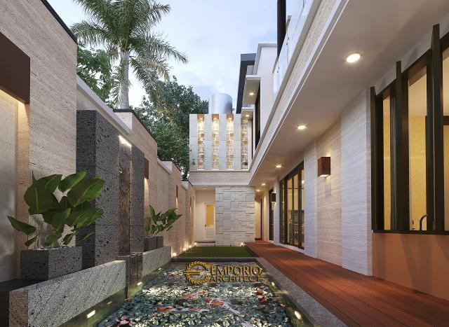 Desain Tampak Detail Belakang Rumah Modern 2 Lantai Bapak Arifin di BSD, Tangerang Selatan