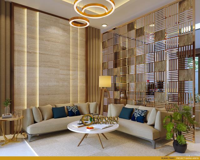 Desain Ruang Tamu Rumah Modern 2 Lantai Bapak Arifin di BSD, Tangerang Selatan