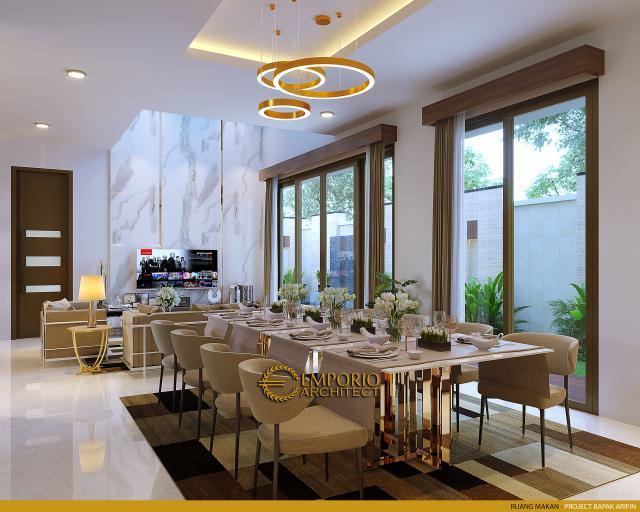 Desain Ruang Makan Rumah Modern 2 Lantai Bapak Arifin di BSD, Tangerang Selatan