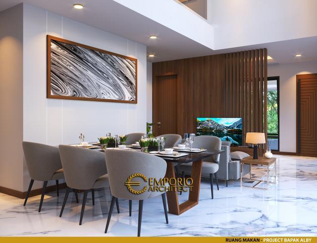 Desain Ruang Makan Rumah Modern 2 Lantai Bapak Alby di Batu, Malang, Jawa Timur