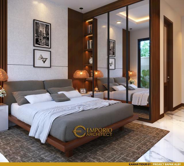 Desain Kamar Tidur 1 Rumah Modern 2 Lantai Bapak Alby di Batu, Malang, Jawa Timur