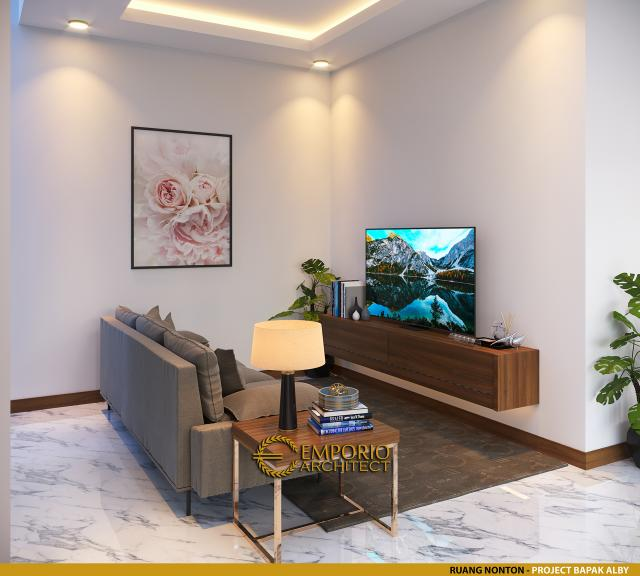 Desain Ruang Nonton Rumah Modern 2 Lantai Bapak Alby di Batu, Malang, Jawa Timur