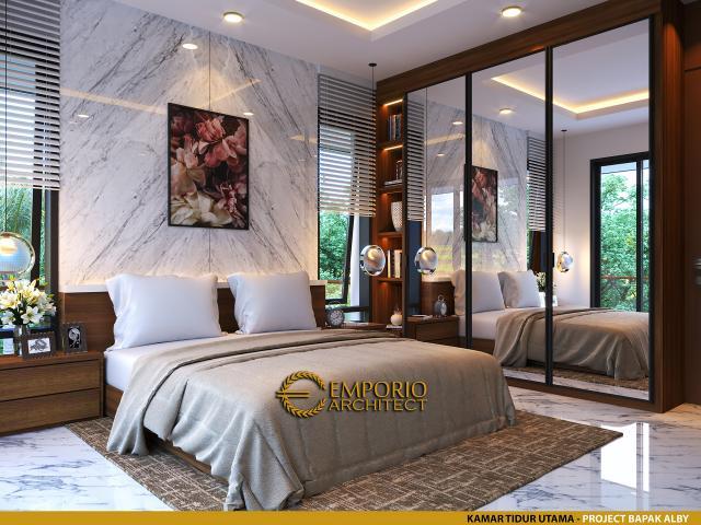 Desain Kamar Tidur Utama Rumah Modern 2 Lantai Bapak Alby di Batu, Malang, Jawa Timur