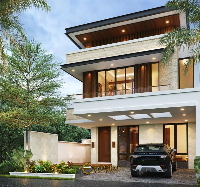 Desain Rumah Modern 2 Lantai Bapak Alby di Batu, Malang, Jawa Timur - Tampak Depan Tanpa Pagar