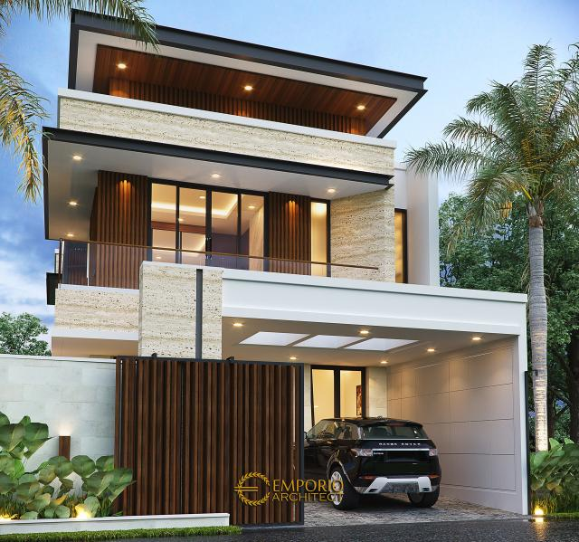 Desain Tampak Depan Dengan Pagar Rumah Modern 2 Lantai Bapak Alby di Batu, Malang, Jawa Timur