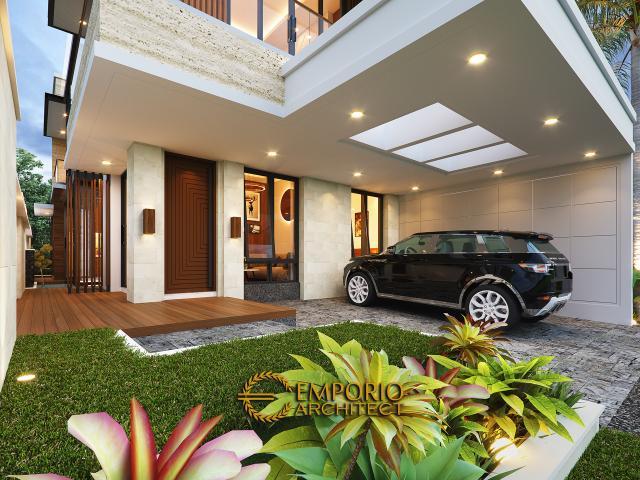 Desain Tampak Detail Depan Rumah Modern 2 Lantai Bapak Alby di Batu, Malang, Jawa Timur