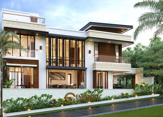 Desain Tampak Samping Rumah Modern 2 Lantai Bapak Alby di Batu, Malang, Jawa Timur