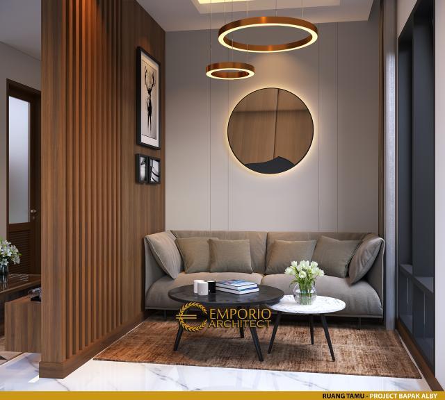 Desain Ruang Tamu Rumah Modern 2 Lantai Bapak Alby di Batu, Malang, Jawa Timur