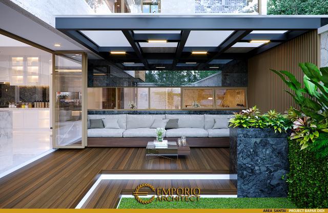 Desain Area Santai Rumah Modern 2 Lantai Bapak Didi di Palembang